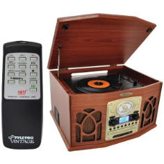 PYLE HOME PTCDS7UIW Retro Turntable System (Wood Finish)